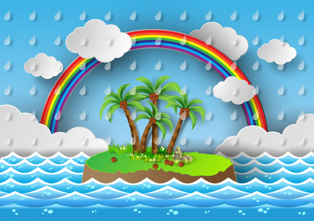 vector illustration tropical palm on island with sea and rainbow.paper cut style. Vector