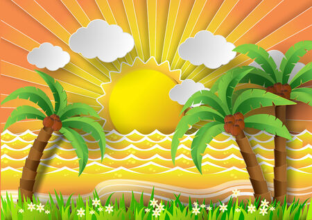 paradisiacal: Coconut trees on the beach and sun .vector illustration paper cut style. Illustration
