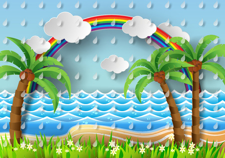 paradisiacal: Coconut trees on the beach and sun wiht rainbow.vector illustration paper cut style.