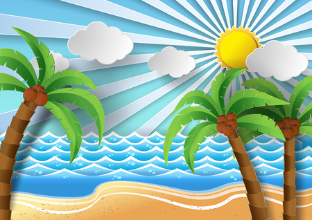 paradisiacal: Coconut trees on the beach and sun shining.vector illustration paper cut style.