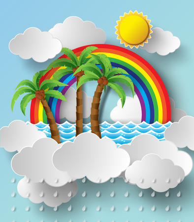 vector illustration tropical palm on clouuds rainbow.paper cut style. Vector