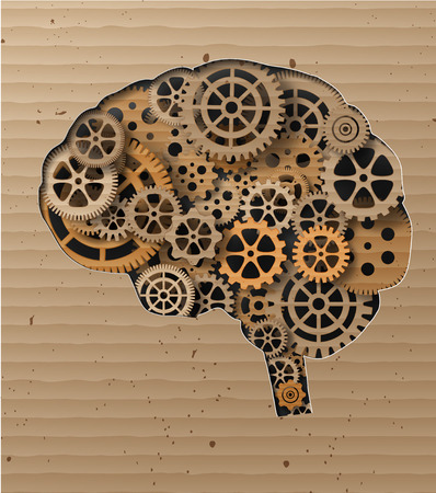 Human brain build out of cogs and gears.Made from Cardboard