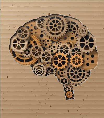pensamiento creativo: Cerebro humano a construir fuera de los dientes y los gears.Made de Cartón Vectores