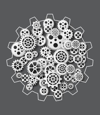 dag: Vector illustration gearwheel . paper cut style.