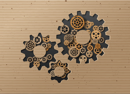 Vector illustration gearwheel . card board style. Illustration