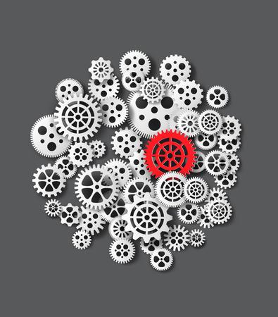 timekeeper: Vector illustration gearwheel . paper cut style.