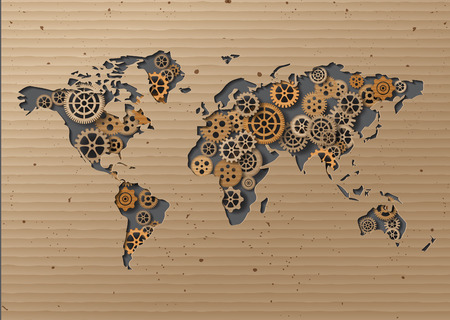 corrugated box: vector World map  Brown Cardboard .paper cut style.