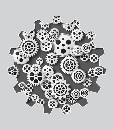 Vector illustration gearwheel . paper cut style.