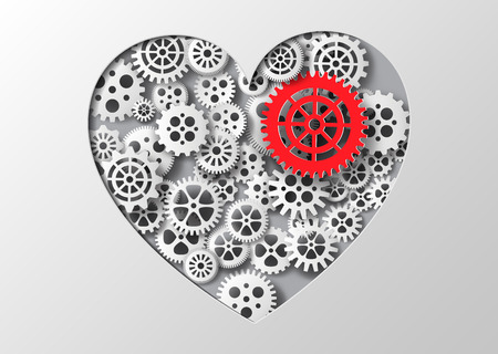 dag: Vector illustration heart and gear.paper cut style.