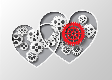 Vector illustration heart and gear.paper cut style.