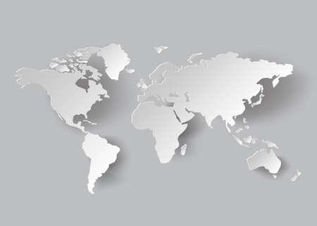 carte du monde: carte vecteur mondiale .paper style de coupe.