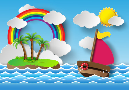 Vector illustration sailing boat and cloud with rainbow.papaer cut style. Vector