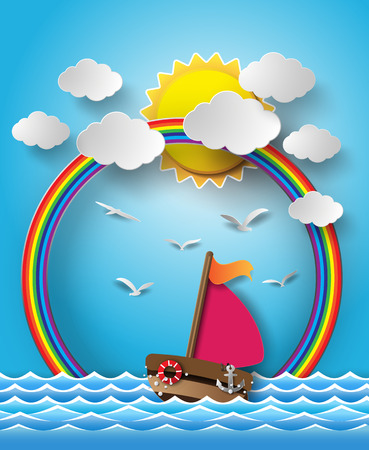 Vector illustration sailing boat and cloud with rainbow.paper cut style. Vector