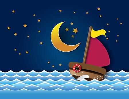 sea water: Vector of sailboat at night. paper cut style.