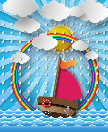 Vector illustration sailing boat and cloud with rain.paper cut  style. Vector