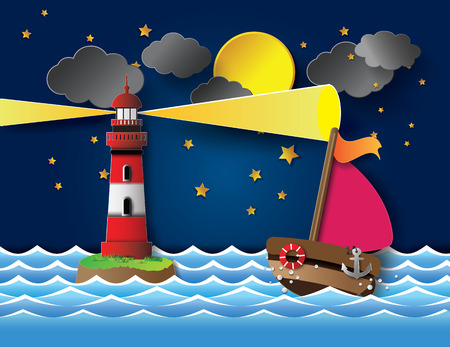 Vector illustration yacht on sea night full moon with lighthouse.paper cut style. Vector