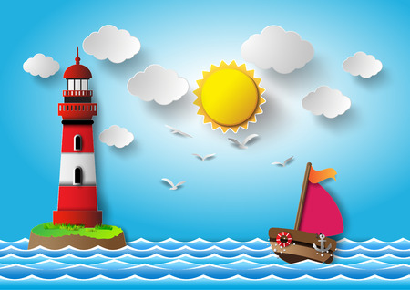 Vector illustration sailing boat and lighthouse .paper cut  style.
