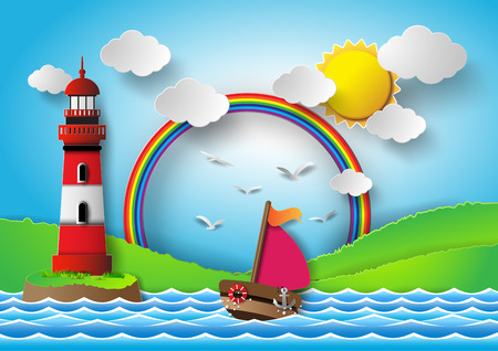 sol caricatura: yate en el mar con la dorada sol y el arco iris Vectores