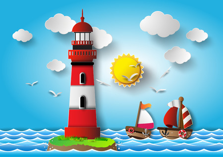illustration  lighthouse with seascape.paper cut style.