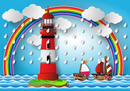 cartoon rain: illustration  lighthouse with seascape.paper cut style.