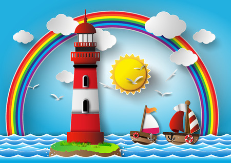 Vector illustration  lighthouse with seascape.paper cut style. Ilustração
