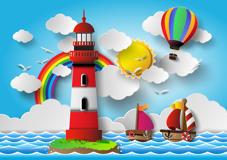 Vector illustration  lighthouse with seascape.paper cut style. 일러스트