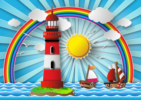Vector illustration  lighthouse with seascape.paper cut style. Vector