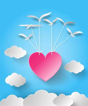 love wallpaper: Valentines day abstract background with cut paper heart. Vector illustration