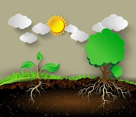 녹색 나뭇잎과 roots.paper 스타일을 잘라 나무 그림입니다.