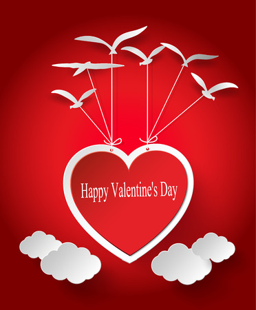 Vector illustration of Valentines day. Abstract paper  hearts. Vector