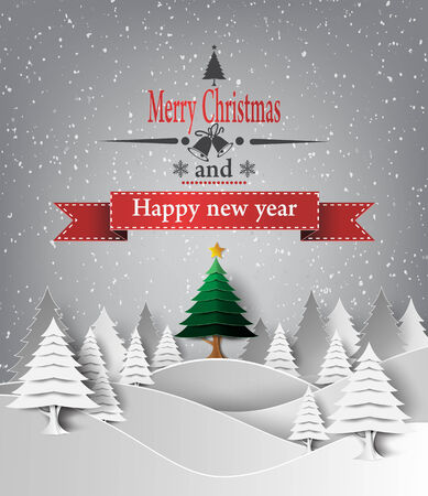 Vector illustration of Merry Christmas Landscape. paper style.