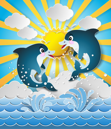 Illustration of the dolphins in sea on the sunset.paper cut style Vector