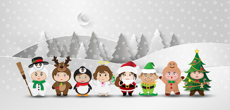 Christmas  character cute kids .Vector illustration Vector