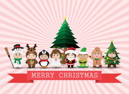 クリスマス キャラクターのかわいい子供たち。ベクトル図  イラスト・ベクター素材