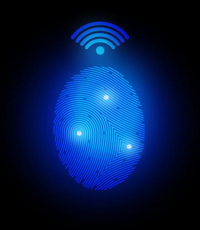finger proof: Vector illustration  finger print with signal