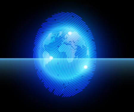 finger proof: Vector illustration  finger print with globe