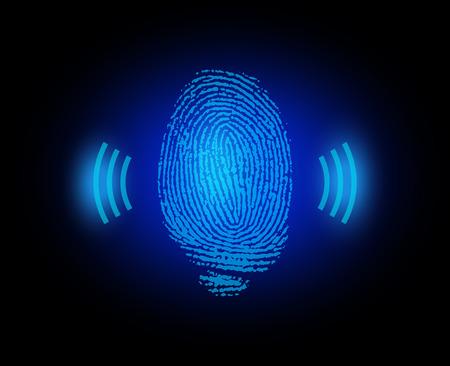 finger proof: finger print with signal Illustration