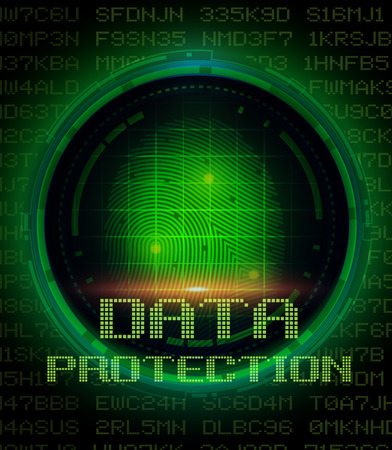 identity protection: Security concept: fingerprint and data protection on digital screen