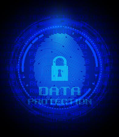 セキュリティの概念: デジタル画面で指紋認証とデータ保護