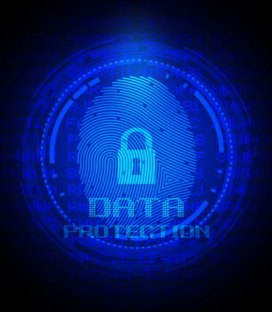 data protection: Security concept: fingerprint and data protection on digital screen