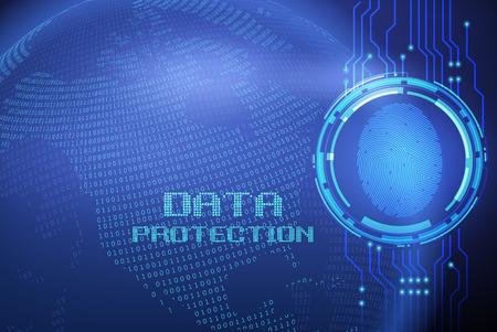 보안 개념 : 디지털 화면의 지문 및 데이터 보호 일러스트