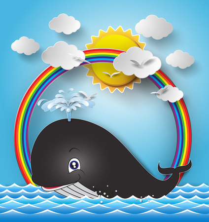 Illustration of cute cartoon whale.paper cut style. Vector