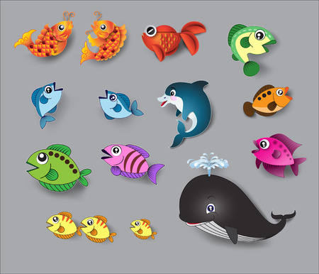 cartoon swimming: cute fish vector.paper cut style.