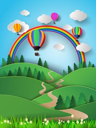 rainbow.paper 스타일을 잘라 높은 하늘에서 벡터 일러스트 레이 션 뜨거운 공기 풍선. 일러스트