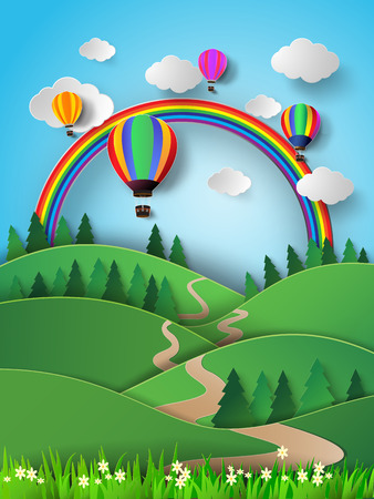 Vector illustration hot air balloon high in the sky with rainbow.paper cut style. Illustration