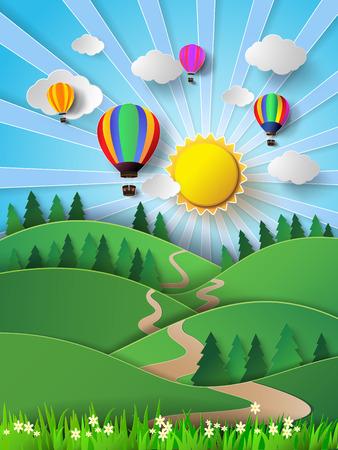 벡터 일러스트 레이 션 뜨거운 공기 balloon.pape와 구름에 햇빛 스타일을 잘라.