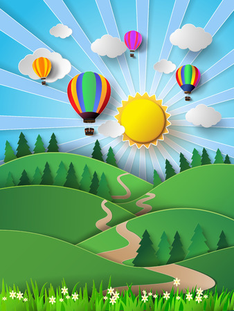 Vector illustration sunlight on cloud with hot air balloon.pape cut style.