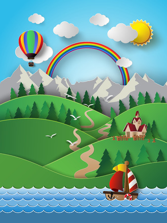 cruise cartoon: Vector illustration sailing boat and cloud with rainbow.paper cut style. Illustration