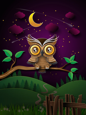 star mascot: vector of owl hang on the tree with moon.
