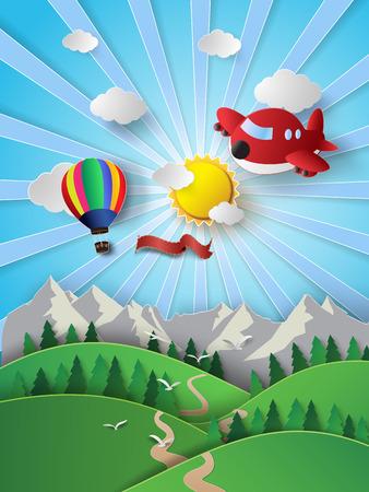 벡터 일러스트 레이 션 뜨거운 공기 풍선 및 airplane.paper와 구름에 햇빛 스타일을 잘라.